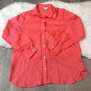 J Jill Love Linen Long Sleeve Burton Down Shirt S